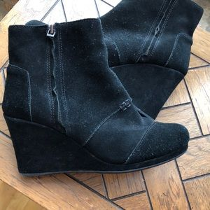 TOMS Black Desert Wedge High Shoe Booties